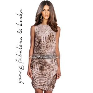 Young Fabulous & Broke ruched animal print dress